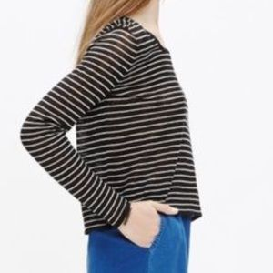 Madewell Skipper Pullover Cropped Striped Sweater